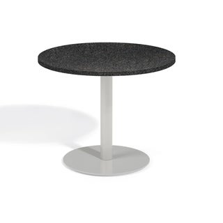 Oxford Garden Travira 36-inch Round Lite-Core Granite Charcoal Bistro Table with Powder Coated Steel Frame