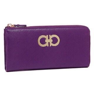 Salvatore Ferragamo Purple Gancini Zip Around Wallet