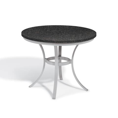 Oxford Garden Travira 36-inch Round Lite-Core Granite Charcoal Café Bistro Table with Powder Coated Steel Frame
