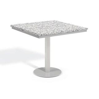 Oxford Garden Travira 32-inch Square Lite-Core Granite Ash Bistro Table with Powder Coated Steel Frame