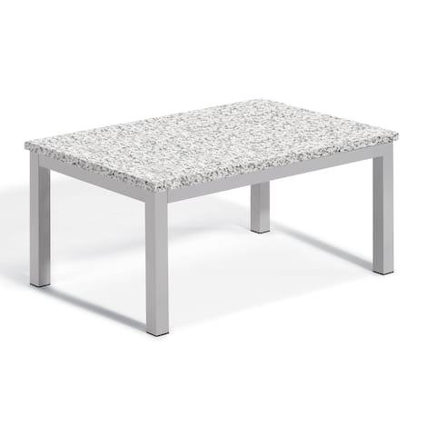 Oxford Garden Travira Lite-Core Granite Ash Coffee Table with Powder Coated Aluminum Frame