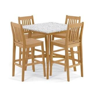 Oxford Garden Wexford 5-Piece Dining Set with 42-inch Lite-Core Ash Bar Table - Natural Shorea