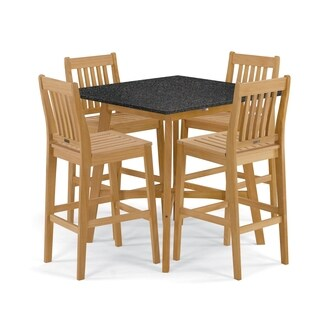Oxford Garden Wexford 5-Piece Dining Set with 42-inch Lite-Core Charcoal Bar Table - Natural Shorea