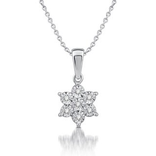 1/20 CTTW Diamond Snowflower Pendant In Sterling Silver (I/J- I3)