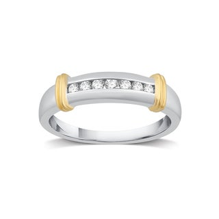 Sterling Silver & 14k Yellow Gold 1/6 CTTW Diamond Men's Wedding Band (I/J- I2)