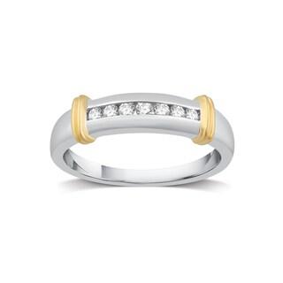 Sterling Silver & 14k Yellow Gold 1/6 CTTW Diamond Men's Wedding Band - White I-J