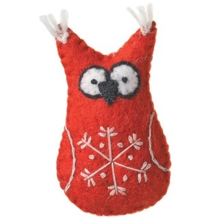Handmade Set of Two Felt Red Owl Holiday Ornaments (Nepal)
