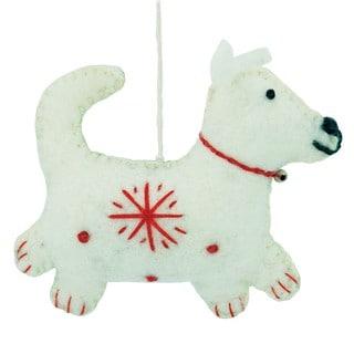 Handmade Set of Two Felt White Dog Holiday Ornaments (Nepal)