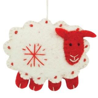 Handmade Set of Two Felt White Sheep Holiday Ornaments (Nepal)