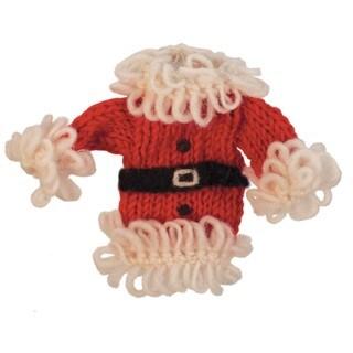 Handmade Set of Two Wool Santa Coat Holiday Ornaments (Nepal)