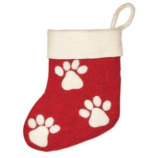 Handmade Felt Paw Prints Holiday Stocking (Nepal)