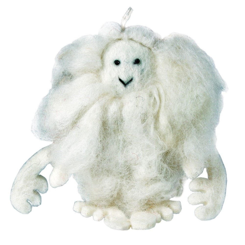 Handmade Set of Two White Yeti Holiday Ornaments (Nepal) (Set of Two White Yeti Ornaments)