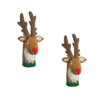 Handmade Set of Two Felt Reindeer Bottle Toppers (Nepal)