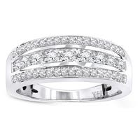 Luxurman 14k Gold 3/5ct TDW 3-row Diamond Wedding Band