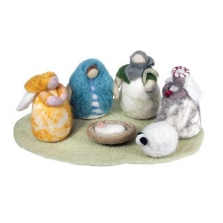 Handmade Large Cozy Felt Nativity Set (Nepal)