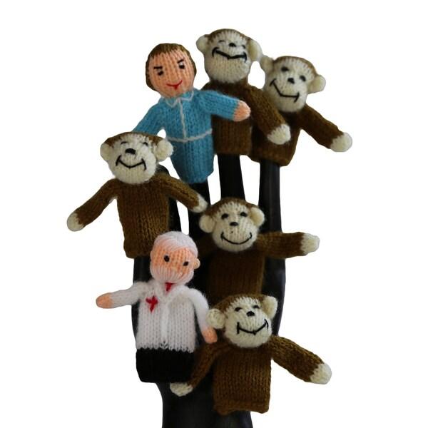 Handmade Wool Five Little Monkeys Finger Puppet Set (Peru)