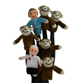 Handmade Wool Five Little Monkeys Finger Puppet Set (Peru)