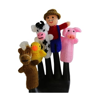 Handmade Wool Old MacDonald Finger Puppet Set (Peru)