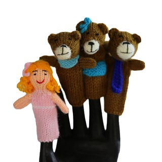 Handmade Wool Goldilocks Finger Puppet Set (Peru)