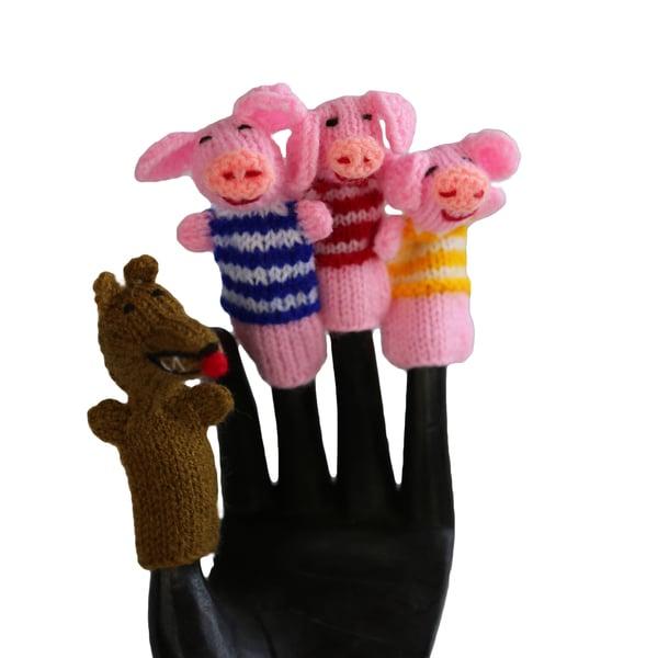 Handmade Wool Three Little Pigs Finger Puppet Set (Peru)