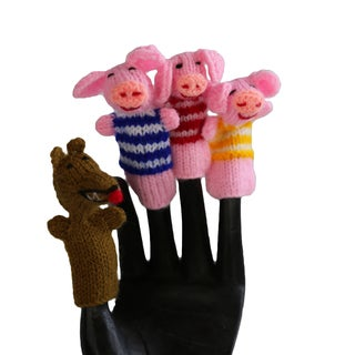 Handmade Wool Three Little Pigs Finger Puppet Set (Peru)