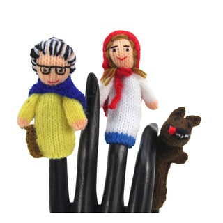 Handmade Wool Red Riding Hood Finger Puppet Set (Peru)