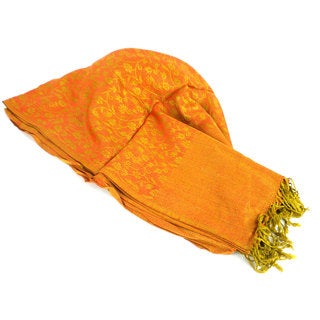 Handmade Golden Gayatri Pashmina Shawl - Global Groove (Nepal)