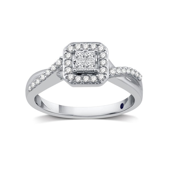 38 CTTW Composite Diamond Square Frame Crossover Engagement Ring in