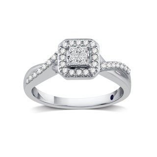 3/8 CTTW Composite Diamond Square Frame Crossover Engagement Ring in Platinaire (I/J- I2)