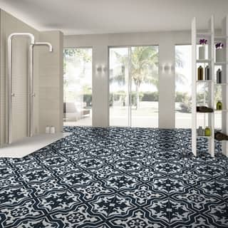 Temara Blue and White Handmade Moroccan 8 x 8 inch Cement and Granite Floor or Wall Tile (Case of 12)|https://ak1.ostkcdn.com/images/products/14103129/P20711229.jpg?impolicy=medium