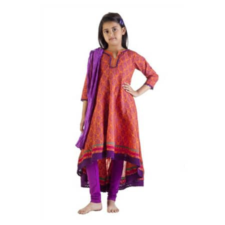 Handmade MB Girl's Indian Asymmetric Kurta Tunic w/ Pants and Scarf (India)