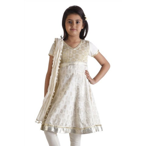 Handmade MB Girls' Indian Kurta Tunic, Churidar Pants, and Dupatta Scarf Set (India)