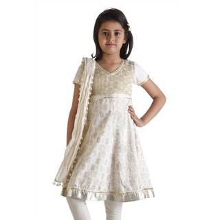 MB Girls' Indian Kurta Tunic, Churidar Pants, and Dupatta Scarf Set (India)