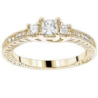 Luxurman 14k Gold 5/8ct TDW Diamond Vintage Engagement Ring