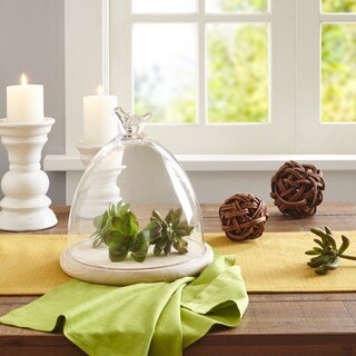 Madison Park Bella Clear Glass Dome with Bird Handle-Medium