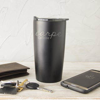 'Carpe Caffeine' Black 20-ounce Stainless Steel Double-Walled Tumbler