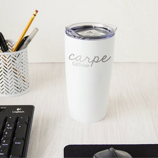 White 20-ounce Carpe Caffeine Stainless Steel Double-walled Tumbler