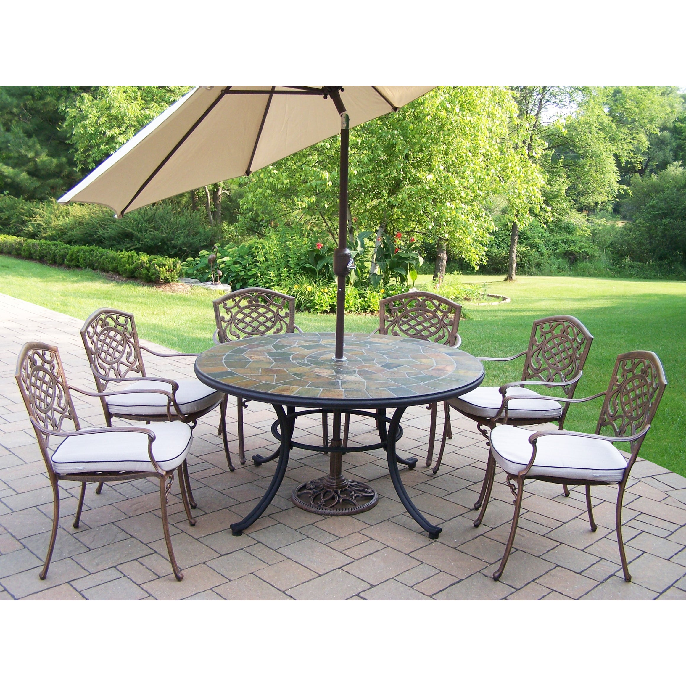 Dining Set With Stone Top Table Cushioned Chairs Umbrella And