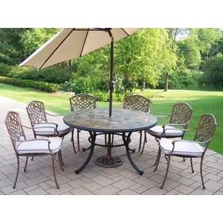 stone patio table. Dining Set With Stone Top Table, Cushioned Chairs, Umbrella And Stand Patio Table T