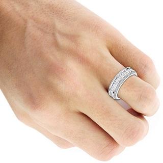 Luxurman 14k Gold 1 5/8ct TDW Baguette Diamond Wedding Band (F-G, VS1-VS2)