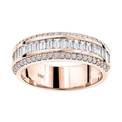 Luxurman 14k Gold 1 5/8ct TDW Baguette Diamond Wedding Band