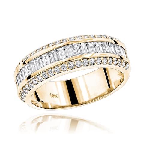 Luxurman 14k Gold 1 5/8ct TDW Baguette Diamond Wedding Band