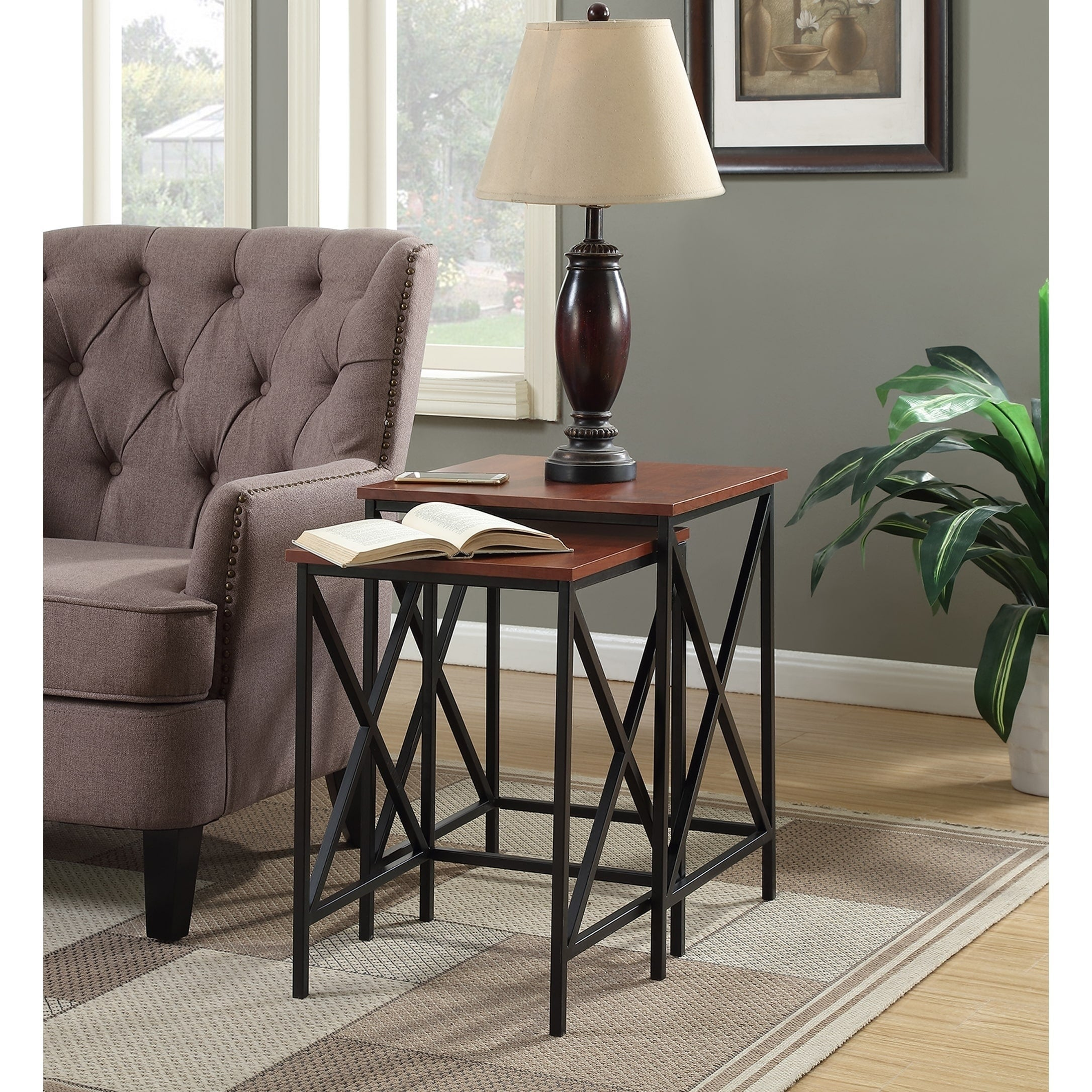 Convenience Concepts Tucson Brown Metal Nesting End Tables (Set of 2)