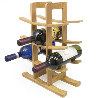 12-Bottle Natural Bamboo Wine Rack