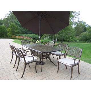 Casselton Outdoor Dining Set with Boat Table, 6 Oatmeal Cushioned Chairs and Brown Umbrella with Stand