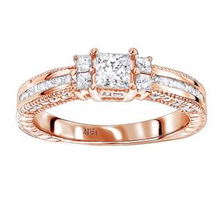 Luxurman 14k Gold 1 1/4ct TDW Diamond Unique Engagement Ring (H-I, SI1-SI2)