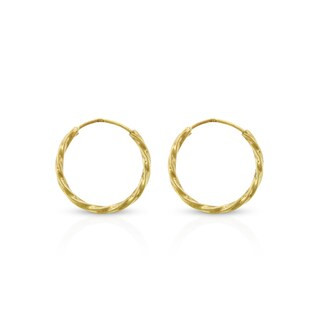14k Yellow Gold Womens 1.2mm Spiral Twist Round Endless Tube Hoop Earrings