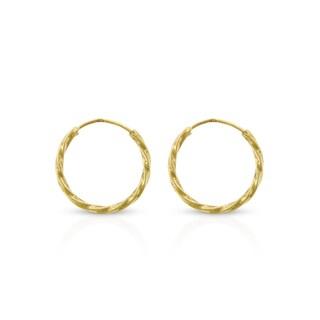 14k Yellow Gold Womens 1.2mm Spiral Twist Round Endless Tube Hoop Earrings