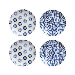 American Atelier Blue Swoosh Floral S/4 Salad Plates (Set of 4)