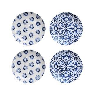 American Atelier Blue Swoosh Floral S/4 Salad Plates (Set of 4)